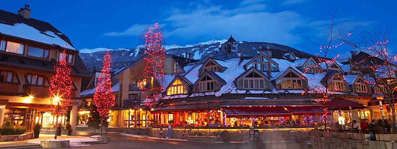 Whistler Village in the winter.